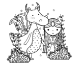 <span class='hidden-xs'>Coloriage de </span>Dragon et princese à colorier