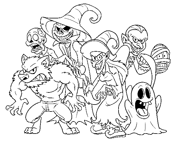Coloriage de Halloween Monsters pour Colorier