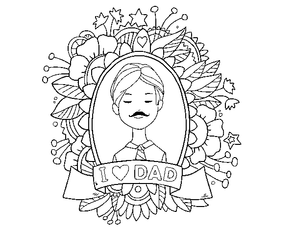 Coloriage de I love Dad pour Colorier