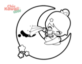 <span class='hidden-xs'>Coloriage de </span>Lune Kawaii à colorier