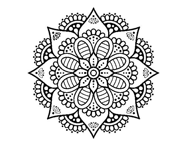 Coloriage de mandala de fleurs de printemps pour colorier - Coloriage fleur mandala ...