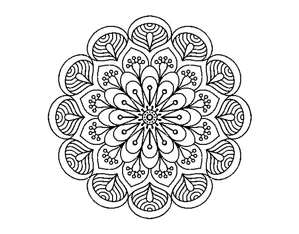 Coloriage De Mandala Fleur Et Feuilles Pour Colorier Coloritoucom