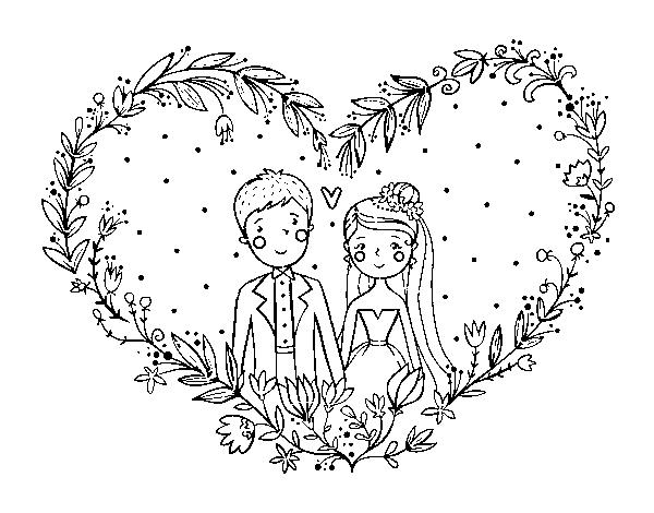 Coloriage Coeur Mariage.Coloriage De Mariage Coeur Pour Colorier Coloritou Com