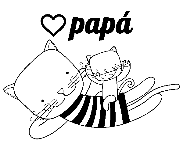 Coloriage de Papa chat pour Colorier