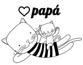 <span class='hidden-xs'>Coloriage de </span>Papa chat à colorier