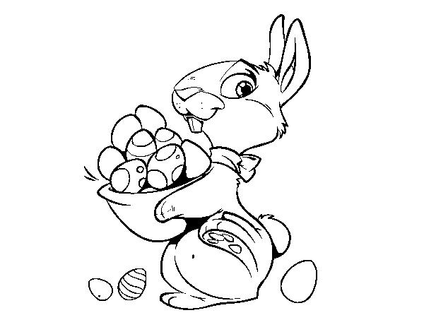 Coloriage de petit lapin avec ufs de p ques pour colorier - Coloriage petit lapin ...