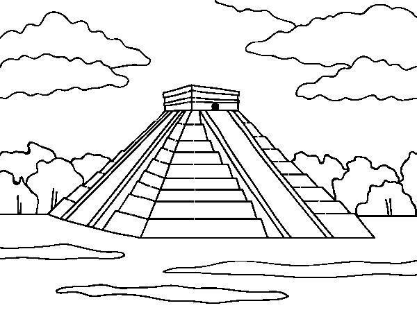 Coloriage de pyramide de chich n itz pour colorier - Dessin de pyramide ...