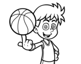 <span class='hidden-xs'>Coloriage de </span>Un basketteur junior à colorier