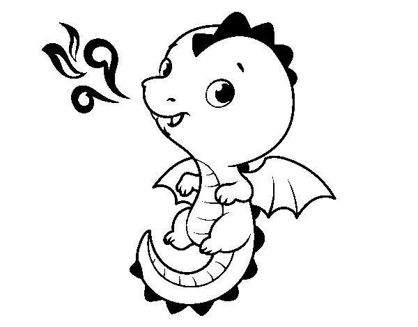 Coloriage de un b b dragon pour colorier - Dessin de bebe dragon ...
