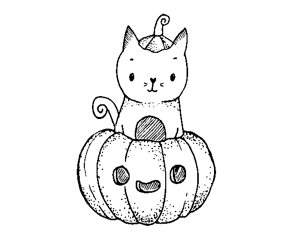 Coloriage de Un chaton d'Halloween pour Colorier