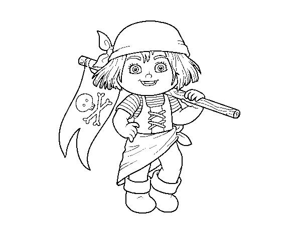 Coloriage de une fille pirate pour colorier - Coloriage pirate fille ...
